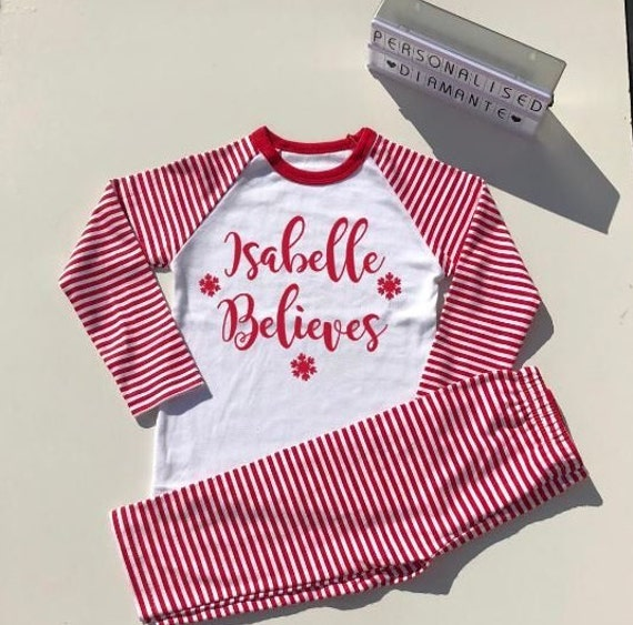 Christmas Eve Believes Pajamas Personalised with name I  ef217d78a