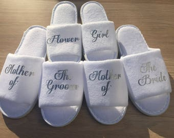 bride slipper, bridesmaid slippers,hen party slippers, spa day slippers, bridesmaid gift slippers, mother of the bride slippers