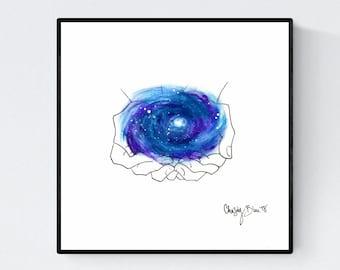 Who Holds the Stars - Original Galaxy Art Print