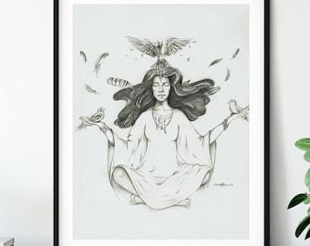 "Original Art Print - Feather and Bird Meditation - ""A Guiding"" - Animal Guide - Angel Guide"