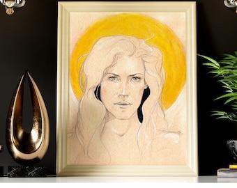Leo - Golden Sun - Zodiac Sun Sign Original Art Print