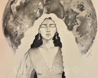 "Full Moon - Divine Feminine - ""Full Moon Feelings"" Original Graphite Drawing Print"