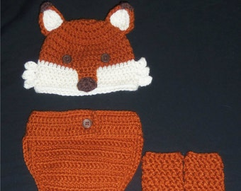 Crochet Newborn Fox Set