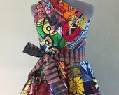 Reversible Patchwork One Shoulder Dress Rock Two Looks in 1 African Wax Print Multi Color Please Contact to Select a Reverse Print