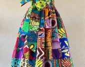 Goddess African Wax Print One Shoulder Maxi Dress 100 Cotton With Poly Lining Side Zipper and Removable Tie Sash Handmade Unique Patchwork