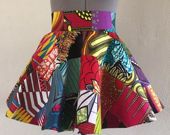 Reversible African Wax Print Patchwork Wrap Peplum Belt Lined Ties in The Back Made Custom to Fit 100% Cotton
