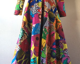 African Wax Print Patchwork Floor Length Coat Dress 100% Cotton With Pockets and Belt Lined