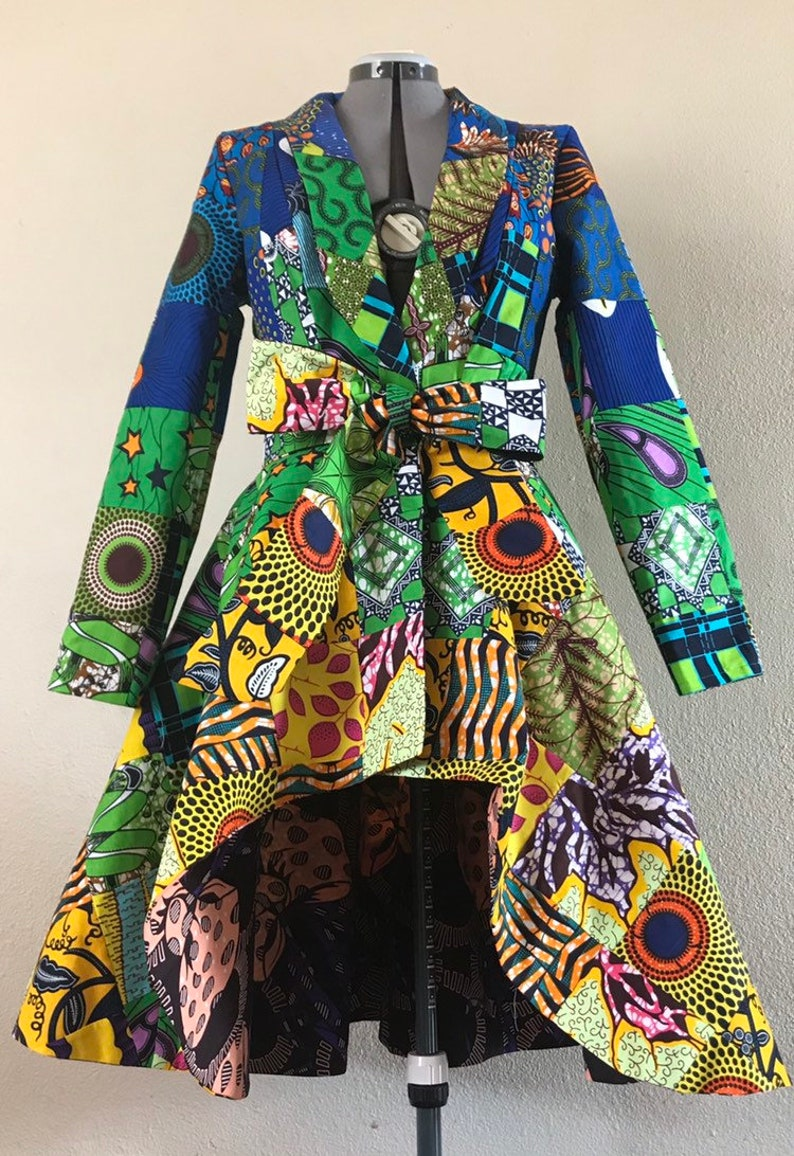 Captivating Color Gradient African Print Patchwork Coat Dress image 0