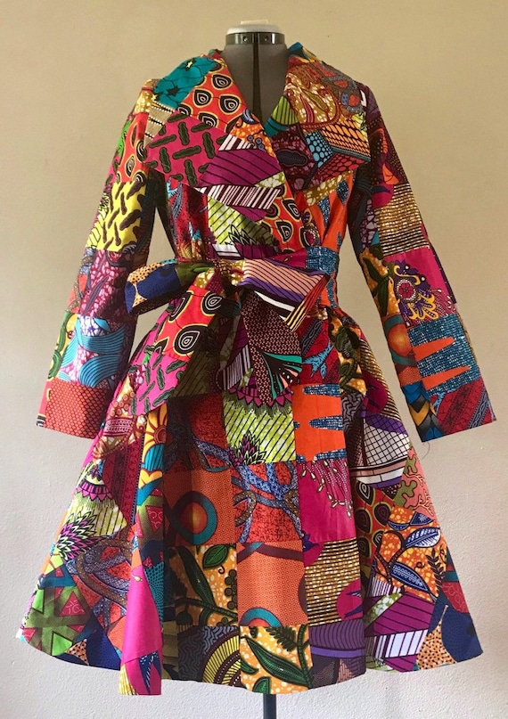 African Print Patchwork Coat Dress high low With Pockets and Tie Belt Fully Lined 100/% Cotton