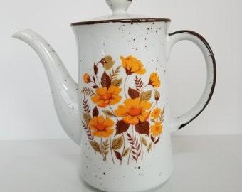 Midcentury Modern / Vintage Porcelain Coffee or Tea Pot With Bright Orange Flowers Made In Japan