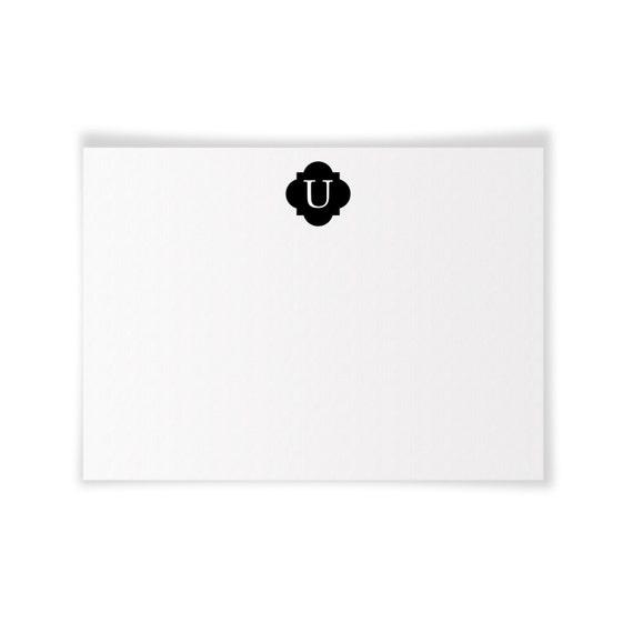 U Monogrammed Printable Notecard