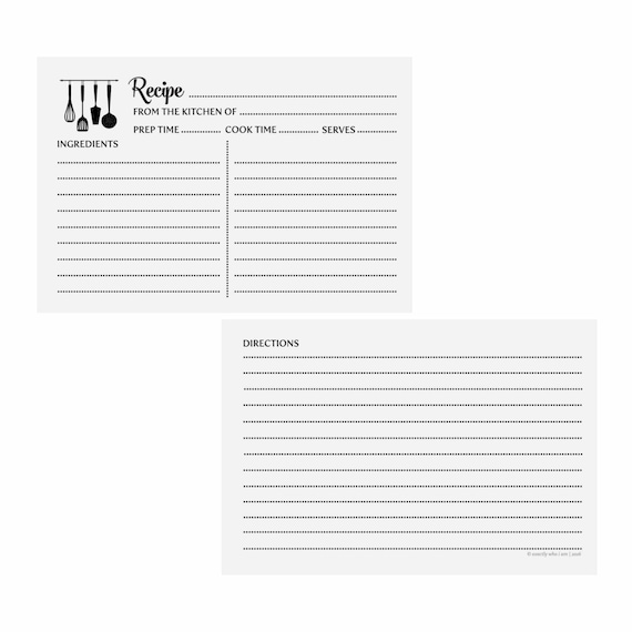 Recipe Cards - Utensils | Printable Recipe Cards