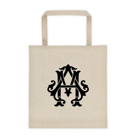 AM Monogrammed Tote Bag