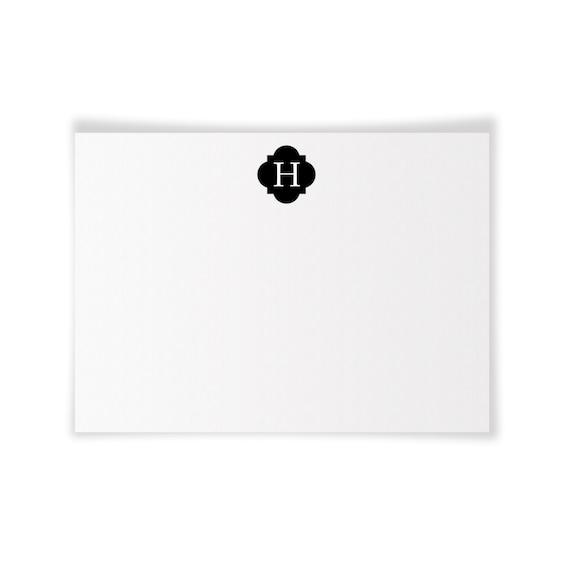 H Monogrammed Printable Notecard