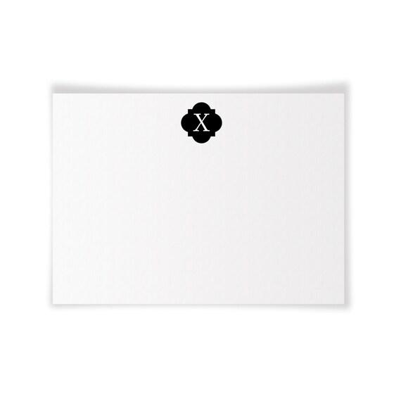 X Monogrammed Printable Notecard