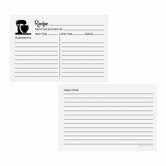 Recipe Cards - Mixer | Printable Recipe Cards