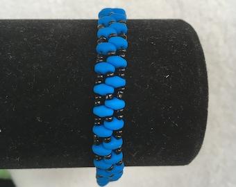 Blue and Black Beaded Bracelet