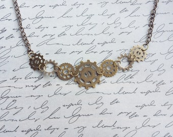 Gear Steampunk Necklace, Steampunk Jewelry Necklace, Steampunk Necklaces, Gear Necklace, Bronze Necklace, Cog Necklace, Gear Jewelry