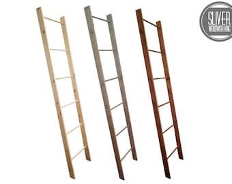 Farmhouse Decorative Wooden Blanket Ladder 4 ft, 5 ft, 6 ft and 7ft Quilt Ladder For Display Decorative Rustic Ladder Decor, Blanket Ladders