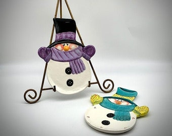 Hand-painted Snowman Plate - Blue - Purple - Candy Dish - Cookie Plate - Snowman Lover - Colorful Snowmen - Gift