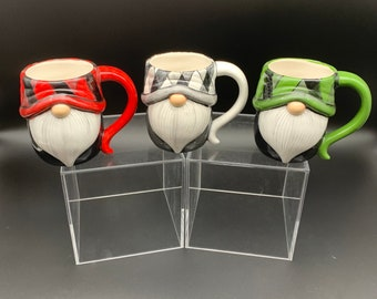 White and Black - Red and Black - Buffalo Check - Gnome Coffee Cup - Tea Cup - Mug - Kitchen Gnome - Farmhouse - Festive Gnome