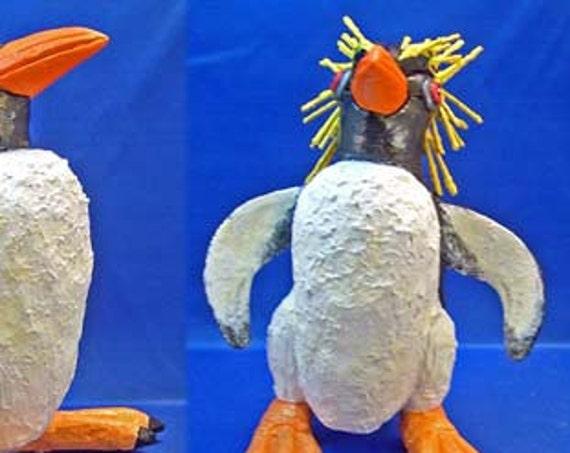FRANKEN-PENGUIN - Rockhopper Penguin Tongue-in-Beak Clayworks Sally Blanchard
