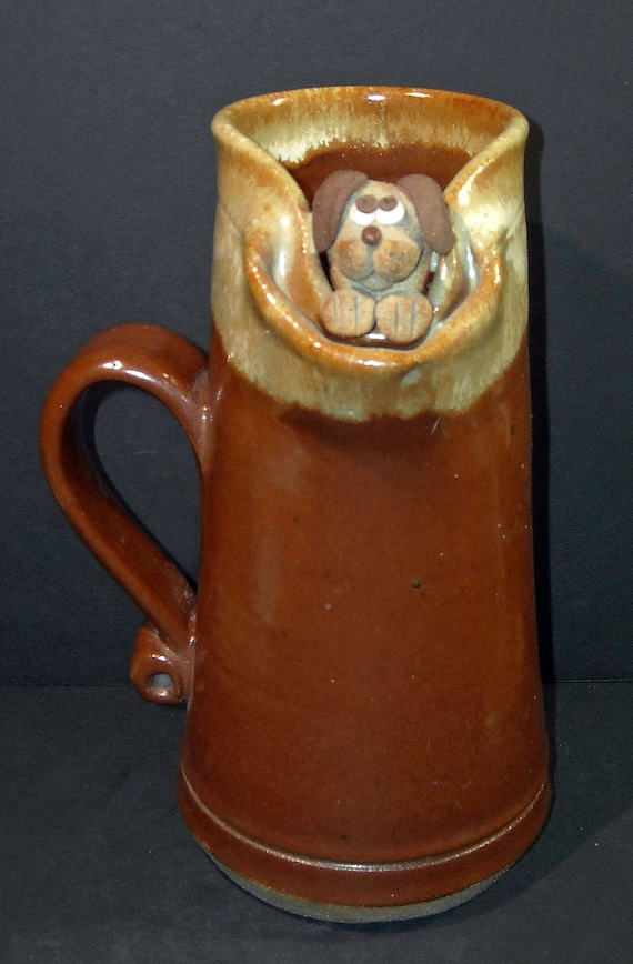 Large Ceramic Pottery Mug With Adorable Puppy Dog Head
