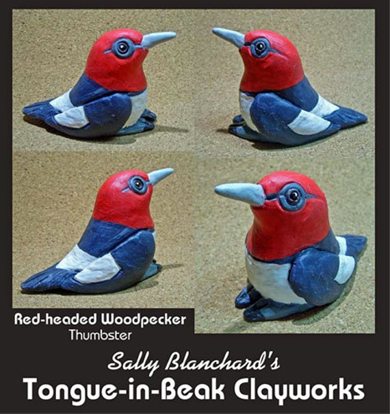 "Red-headed Woodpecker - Sally Blanchard's Tongue-in-Beak Clayworks ""thumbsters"""