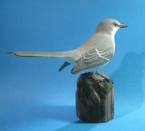 Lifesize Northern Mockingbird Wood Carving Wood Sculpture on base by Hummingbird Studio