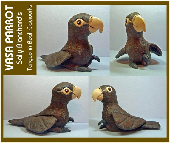 VASA PARROT - An Original One of a Kind Sally Blanchard Tongue-in-Beak Clayworks