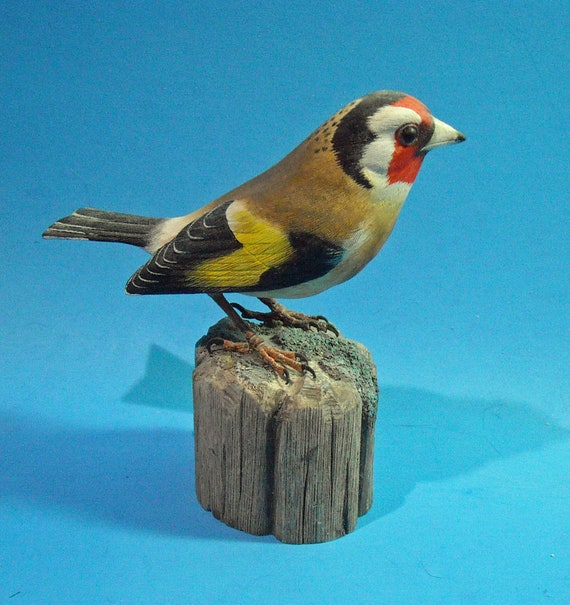 European Goldfinch Painted Wood Carving Wood Sculpture Sculpture by Bird Hug