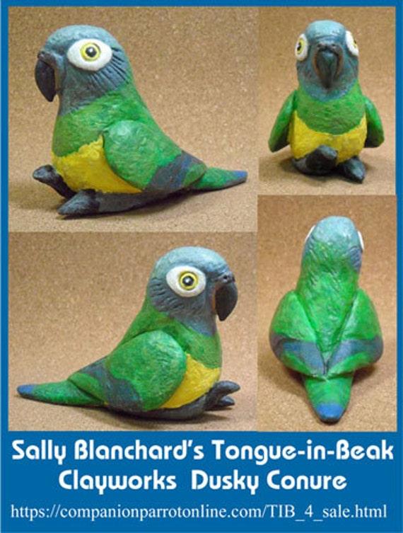 DUSKY CONURE Tongue-in-Beak Clayworks Mini-gem Sally Blanchard