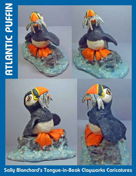 Fsherman, Atlantic Puffin Caricature - Sally Blanchard - Tongue-in-Beak Clayworks - Original One of a Kind