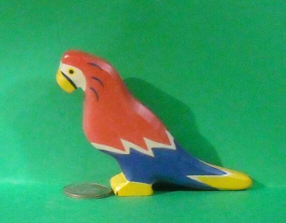 Miniature Painted wood Scarlet Macaw Figure