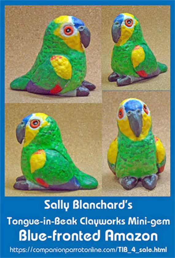 BLUE-FRONTED AMAZON Tongue-in-Beak Mini-gem Sally Blanchare