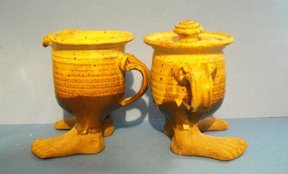 Unique Vintage Art Pottery Ceramic Footed Cream and Sugar Pair