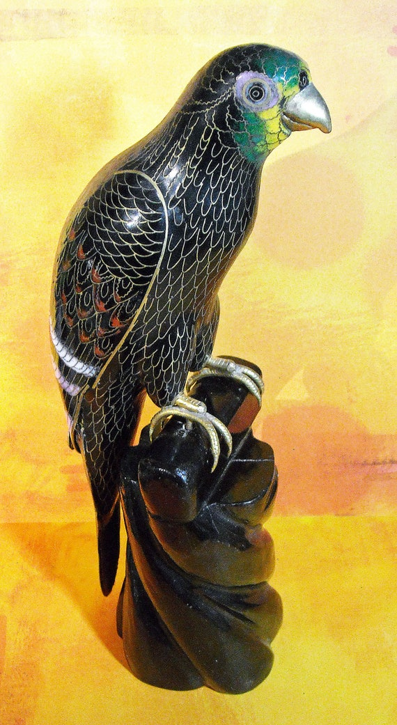 Beautiful Vintage Cloisonne Parrot from Asia