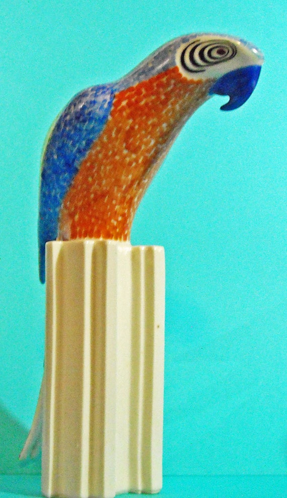 Rare vintage Atelier Perkin Hammer Porcelain Czechoslovakia Stylized Decorative Macaw Parrot