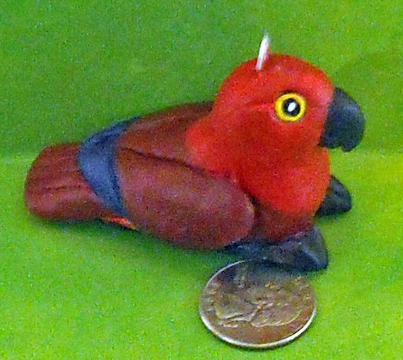 Adorable Hen Eclectus Parrot Christmas Ornament by Sally Blanchard Tongue-in-Beak Clayworks