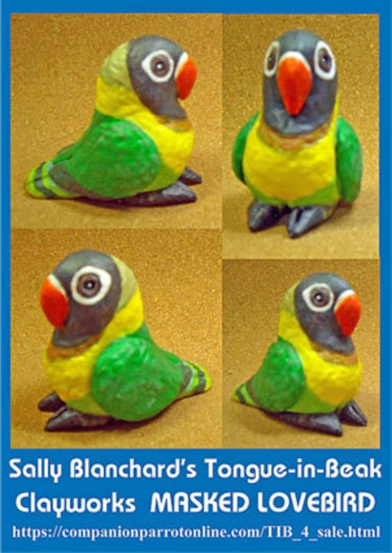 MASKED LOVEBIRD Tongue-in-Beak Mini-gem Sally Blanchard