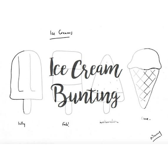 photo about Ice Cream Template Printable identify Ice Product Bunting PDF Template Printable