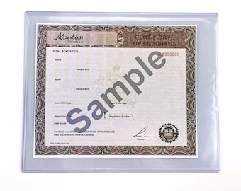 Protective Case Holder for Canadian Marriage Wedding Certificate and Civil Marriage Statement Certificate