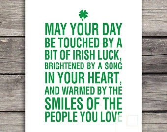 St Patricks Day | St Patricks Day Printable | Home Decor | Green | Luck of the Irish | May your day | St Pattys Day Instant Download 8x10
