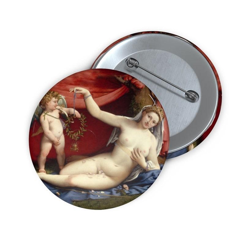 Venus and Cupid 1520s Lorenzo Lotto Italian Metal Pin Button