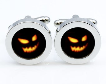 Halloween cufflinks, scary cuff links, scary cufflink, Accessories for men and women jewelry, black orange, yellow cufflinks