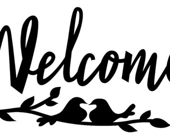 """Vinyl """"Welcome"""" Front Door Decal with Birds and Branches - Wall Art - 5.5"""" x 12"""""""