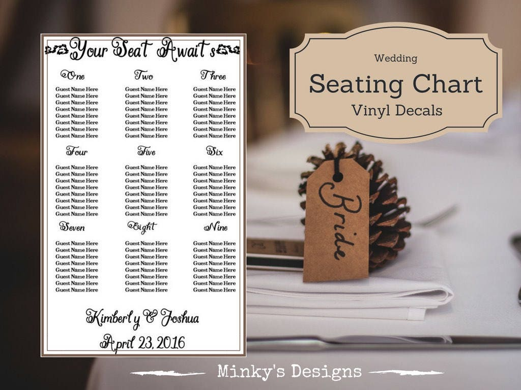 Wedding Seating Chart Table Plan Vinyl Decal Sticker Etsy
