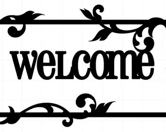"""Vinyl """"Welcome"""" Front Door Decal with Vines and Leaves - Wall Art - 5.5"""" x 12"""""""