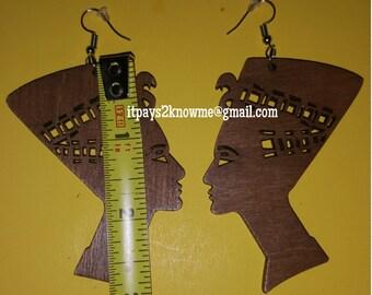 African Queen Nefertiti wooden earrings