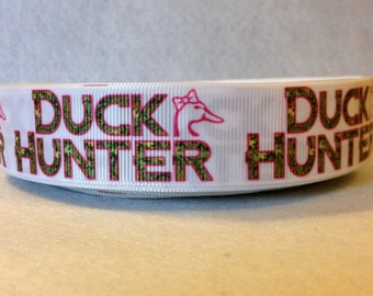1 Inch White and Pink Duck Hunter Grosgrain Ribbon